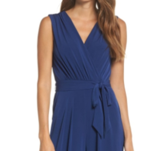 c08b2297aca2 Faux Wrap Jersey Jumpsuit in Blue. M 5b86cc85c61777f88dbe6e65. Other Pants  you may like. Vince Camuto ...